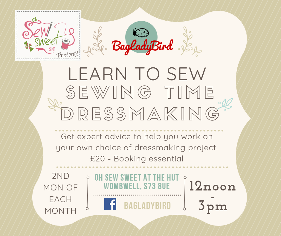 learn to sew sewing time dressmaking - oh sew sweet - 2nd monday of each month